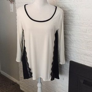 West Kei long sleeve lace accent top